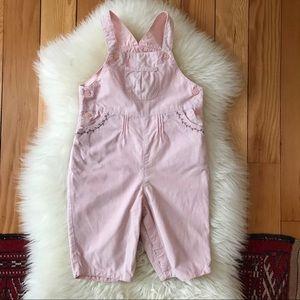 Jacadi Baby Girl Pink Corduroy Overalls
